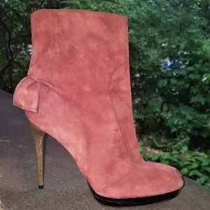 DSQUARED | Pink Suede Frilled Ankle Boots
